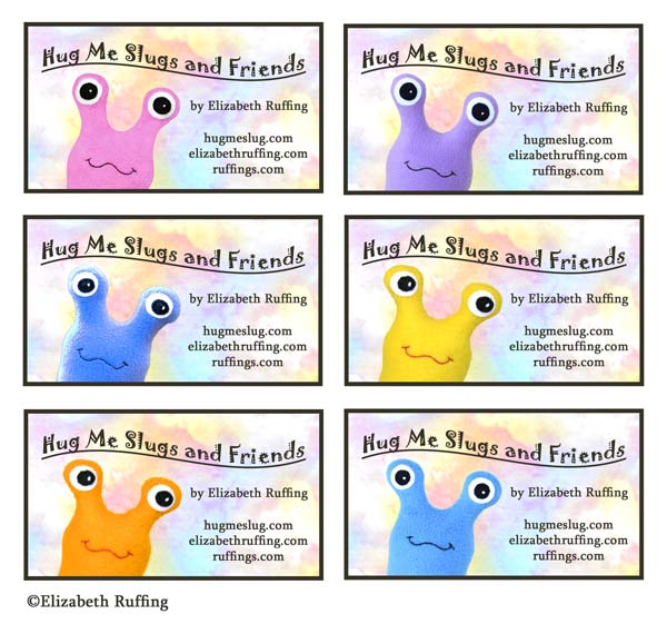 Hug Me Slugs and Friends business cards and original art toy by Elizabeth Ruffing