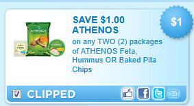 Athenos Feta, Hummus Or Baked Pita Chips, Any 2 packages Coupon