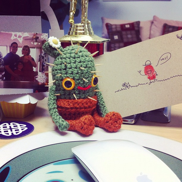 @virginiejolie  got my package from you today!! The cactus is THE cutest ever!! Ha! And I plan on putting that smurf sheet to use soon  thank you sweet craftiest friend!! And yes we would be the super duperest friends irl haha