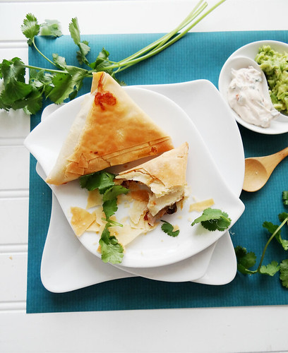 mexicali phyllo wraps // chipotle cilantro cream