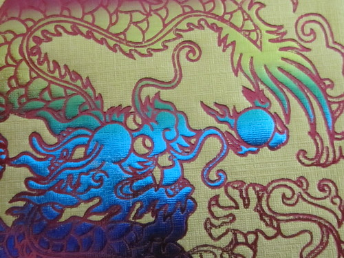 Blue Dragon on Gold Background