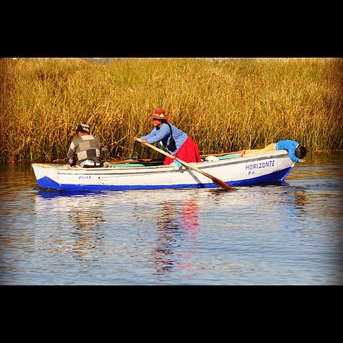 Tough work #boat rowing on Lake Titicaca #peru #travel by Gribers