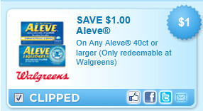Aleve 40ct Or Larger (only Redeemable At Walgreens) Coupon