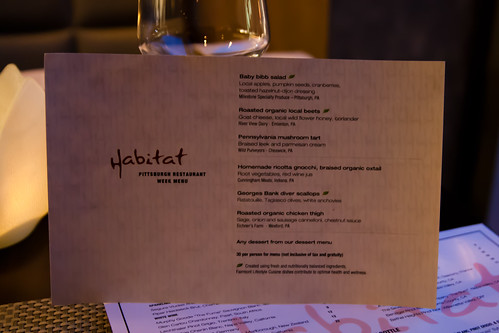 Pittsburgh Restaurant Week Menu at Habitat