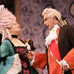 Mrs. Malaprop (Mary Louise Wilson) and Sir Anthony Absolute (Will LeBow) scheme to unite her niece and his son in the Huntington Theatre Company's production of