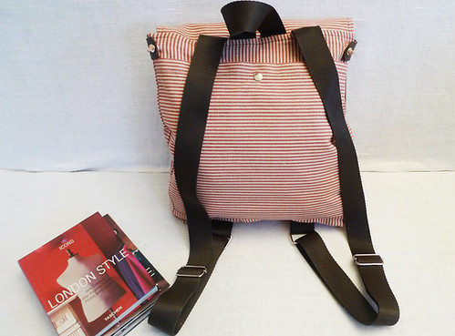 Ottobags Cute Red and White Striped Canvas - Backpack / School / Travel / Laptop bag