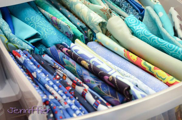 blues fabric drawer