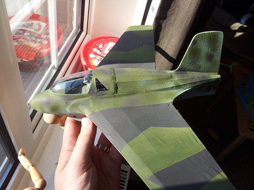Repainted repaired wing on me163