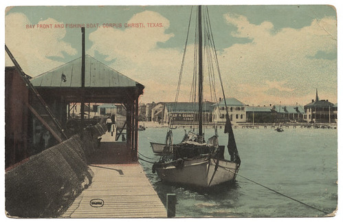 Bay Front and Fishing boat, Corpus Christi, Texas.