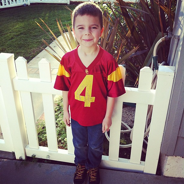 It is jersey day at school. He chose a USC Jersey, of course! #FightOn