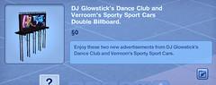 DJ Glowstick's Dance Club and Verroom's Sporty Sports Cars Double Billboard