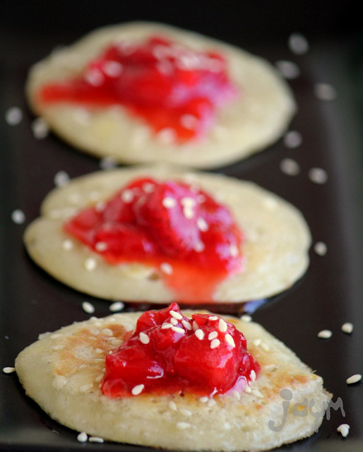 Banana Pancakes with Sesame and Strawberry Compote