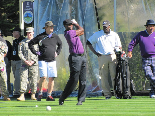 Don Cheadle tees off at hole #17 as Bill Murray and George Lopez scope out the competition