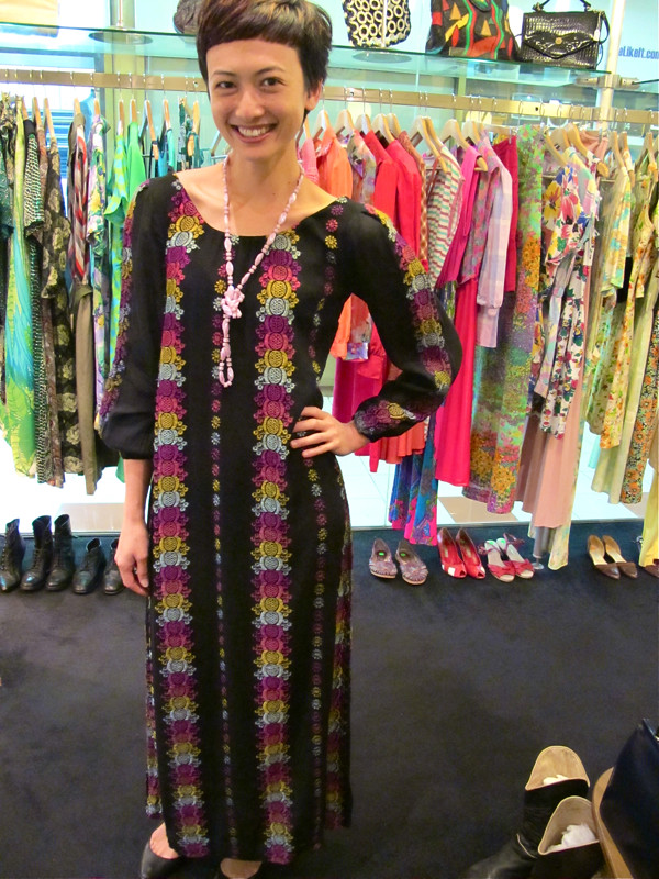 Stunning maxi hippie dress - fully embroidered; Lilac shiny beads
