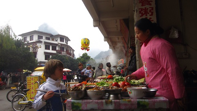 X ordering a great soup, Yangshuo