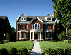 Front view from Summit Ave of the grand entrance to the home