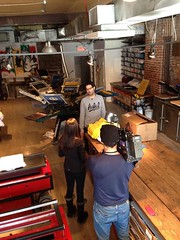 """The CBC was in our shop today! Interview for a new doc coming out called """"100% Tshirt"""" playing at Cinema Du Parc. Check us out at 5, 6, and 11pm on the CBC!"""