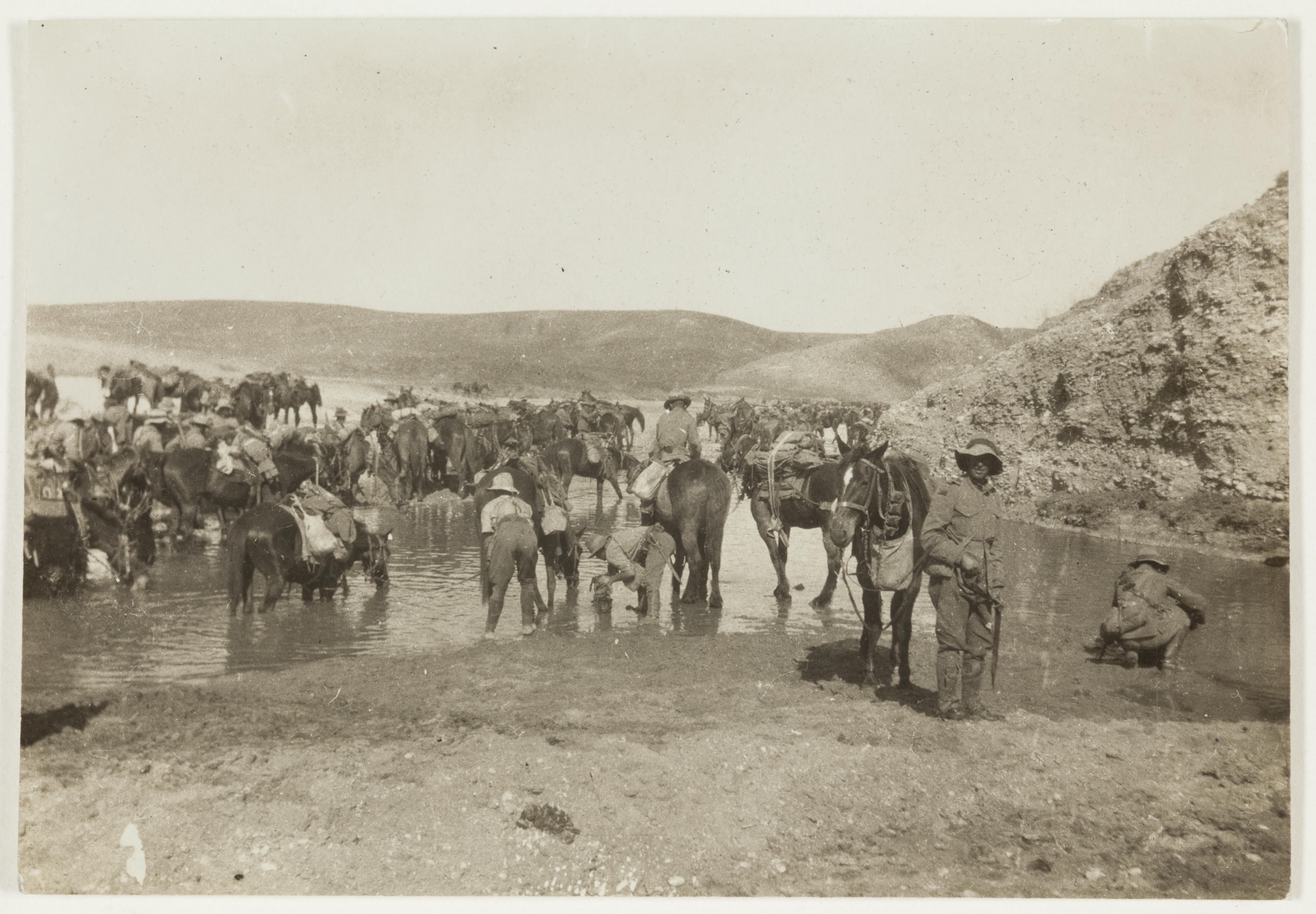 Watering horses at Ludd  by J.F. Smith of the 7th Light Horse in Egypt and Palestine, c. 1914-1918