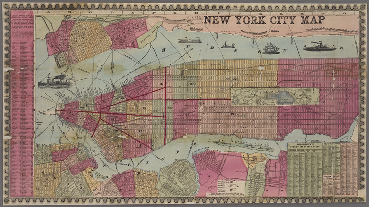 New York City map. Including an index to the streets of New York and Brooklyn