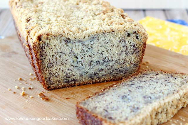 This Banana Crumb Loaf is a great way to use those over-ripe bananas! Perfectly delicious!