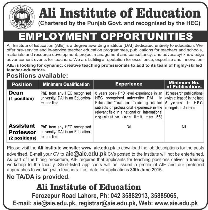 Ali Institute of Education Faculty Required