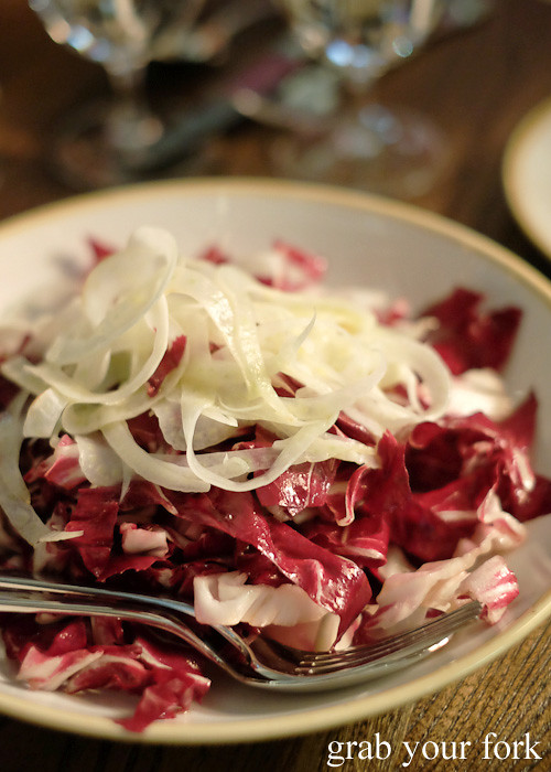 Radicchio and fennel salad at Bar Machiavelli in Rushcutters Bay