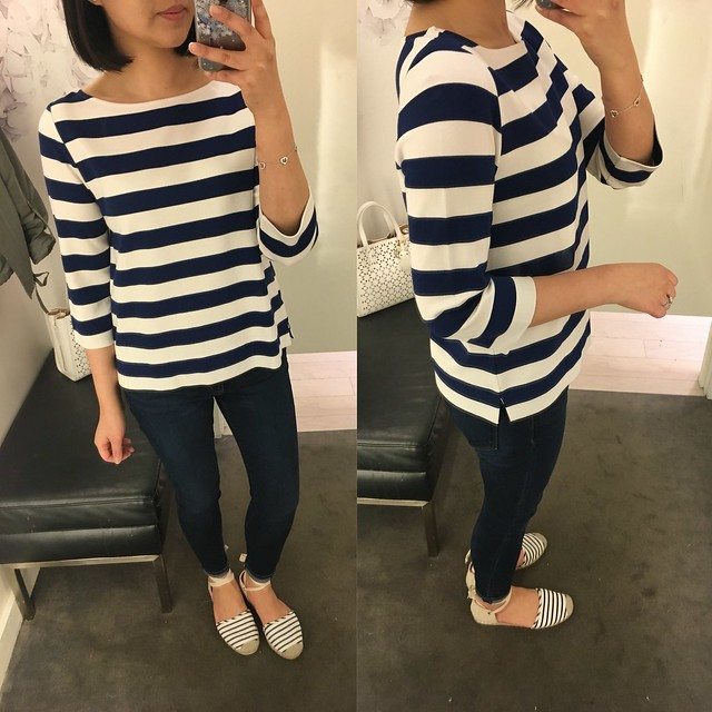 Ann Taylor Stripe Boatneck 3/4 Sleeve Top, size MP