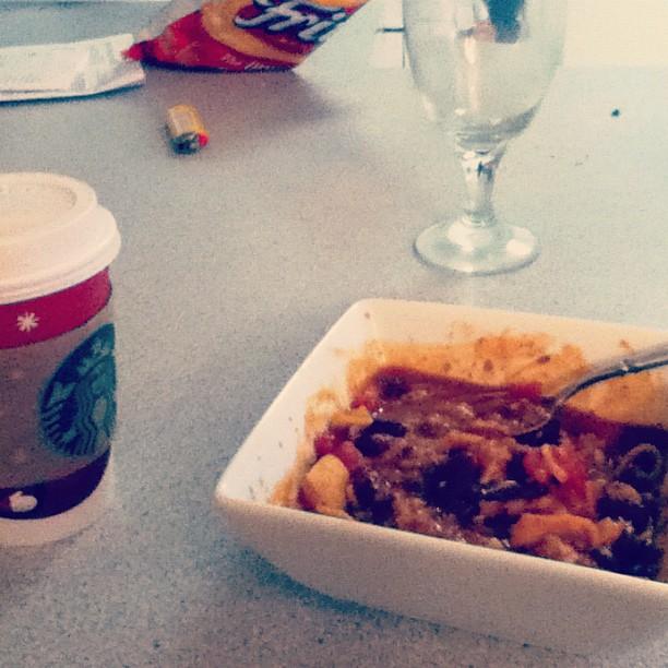 Starbucks and homemade chili.
