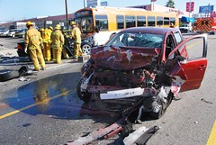 North Hollywood Collision Involving Metro Bus Sends 3 to Hospital. © Photo by Mike Meadows. Click to view more...