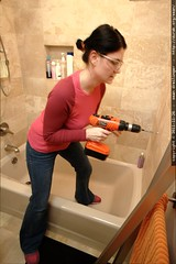 rachel drilling our bathroom wall    MG 2848