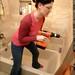 rachel drilling our bathroom wall    MG 2848