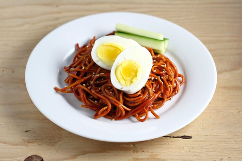 Bibim Nengmyun (Buckwheat Noodles with Hot Pepper Sauce)