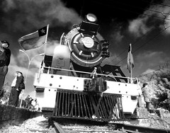 [Free Images] Transportation, Trains, Black and White, Steam Locomotive ID:201112062200