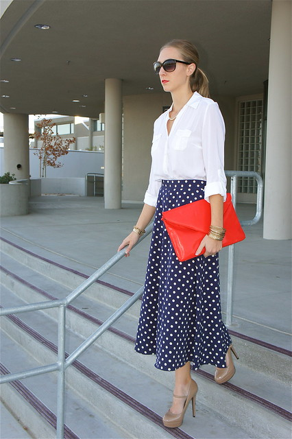 Navy polka dot skirt outfit
