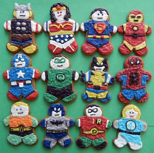 superhero gingerbread cookies