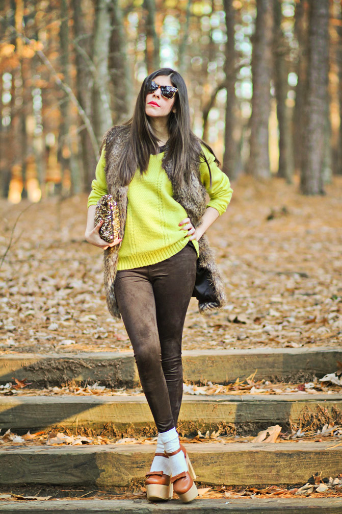 Rachel Roy fur, Asos neon knit, Free People Socks, Karen Walker sunglasses, Fashion outfit