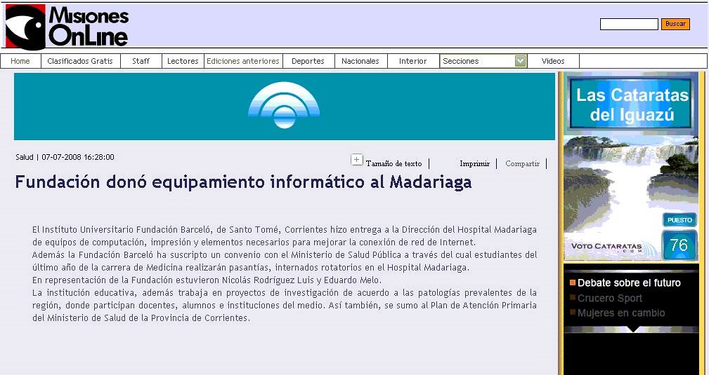 Site Misiones Online 07-07-08 Nota
