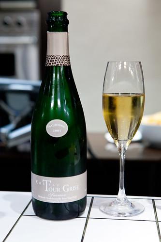 Starting with Saumur Brut, Non Dosé, Ch. La Tour Grise 2001 (a Chenin Blanc)