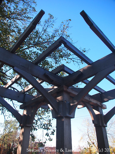 The corner of a L-Shaped Arbor Custom Crafted Pergolas and Arbors by Switzer's