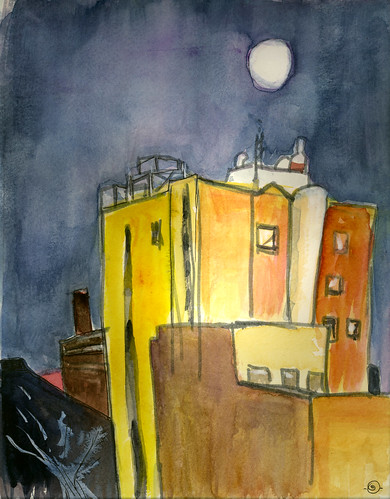 winter moon ink watercolor brushpen urbanlandscape waterlooiowa acylicwhiteink
