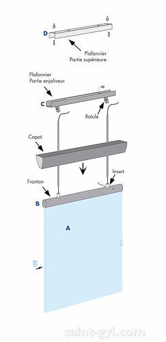porte-affiche extra-plat lumineux suspendu par tubes sch 001
