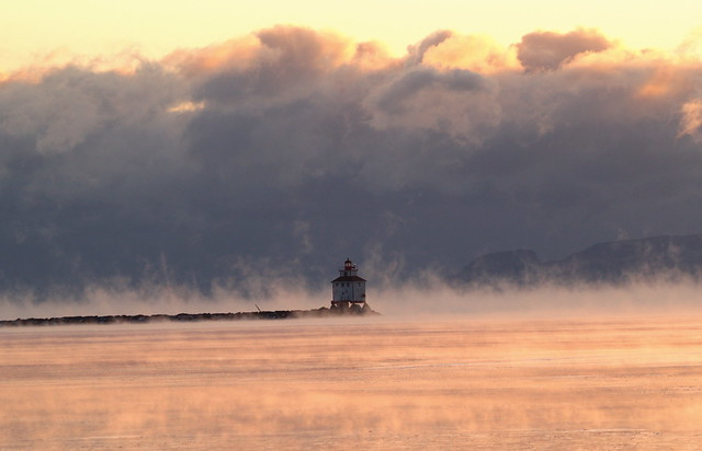 lighthouse in the mist (with Sleeping Giant in the background)