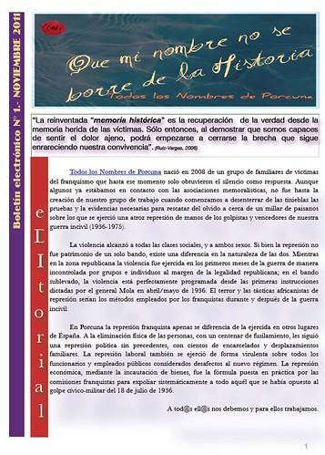 Boletín electrónico de Nombres Porcuna, nº 1. Noviembre de 2011