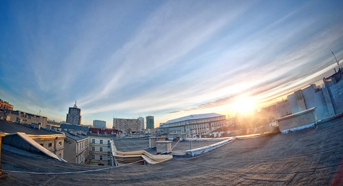 roof sun rooftop sunrise fisheye dach lodz słońce łódź wschód