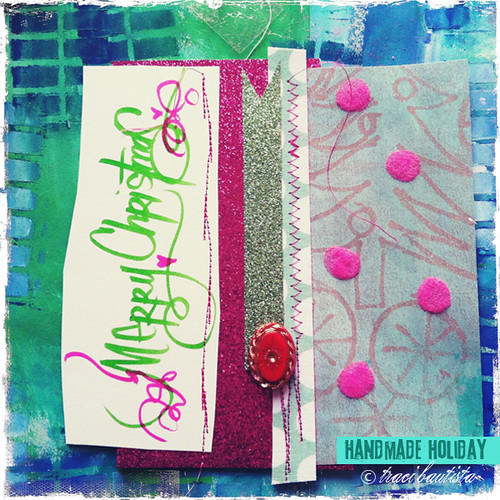 stitch to glitter cardstock & adhere baubles with dot adhesive