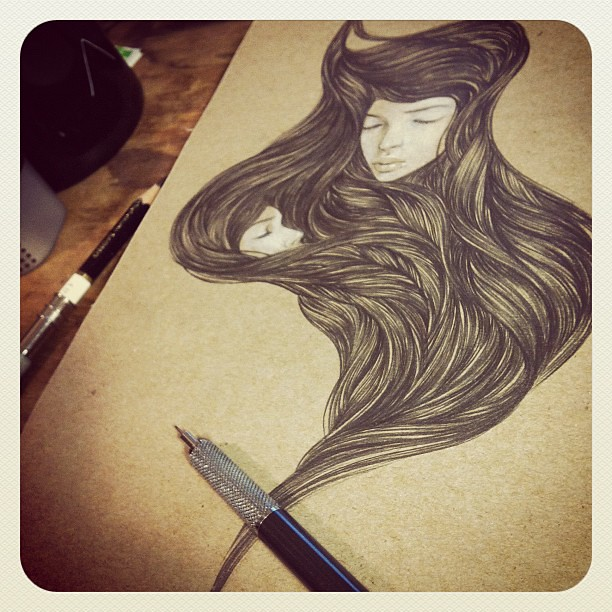 In the mood for drawing tonight... On scrap cardboard...