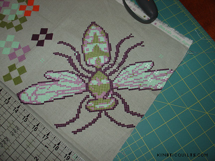 Body Pillow - cross-stitch bee panel as sent