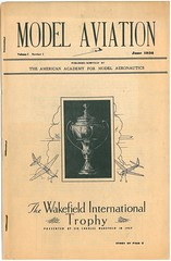 The cover of the first issue of Model Aviation, handed out at the 1936 National Aeromodeling Championships.