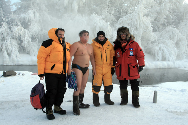 Yakutian guy swimming at -52 degrees Celsius - Tomtor - Pole of Cold - Yakutia - Siberia - Russia