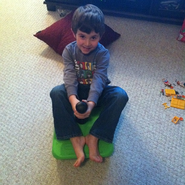 Practicing sledding for when we have snow again. #hourlyphoto